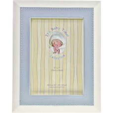 Baby photo frame with blue leather edge