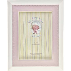 Baby photo frame with pink leather edge