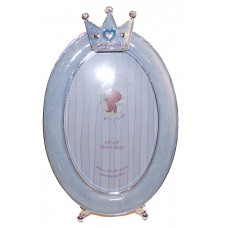 Baby photo frame blue oval with crown