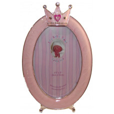 Baby photo frame pink oval with crown