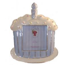 Baby photo frame cake blue