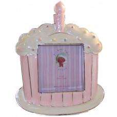 Baby photo frame cake pink