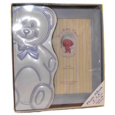 Baby photo album with bear blue
