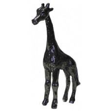 Giraffe patinated shiny pewter.