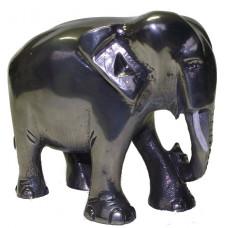 Olifant groot gepatineerd glanzend tin.