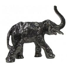 Olifant met slurf omhoog gepatineerd glanzend tin.
