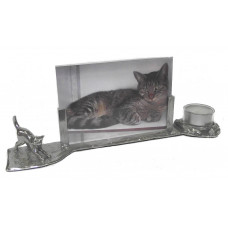 Photo frame cat with candle holder
