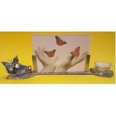 Waxinehouder fotolijst met vlinder op hand