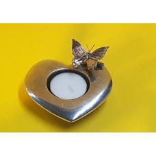 Waxinehouder hart met vlinder op tak