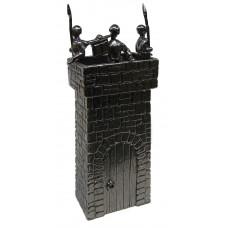 Wachttoren met 3 soldaten. gepatineerd glanzend tin.
