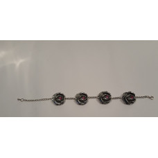 Bracelet made with pewter roses with swarovski 20,5cm
