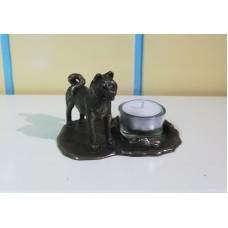 American akita small waxine holder, bronze