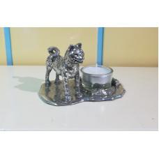 American akita small waxine holder, silver pewter