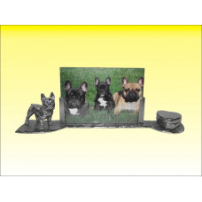 Memorial photo frame French bulldog male or female patinated shiny pewter
