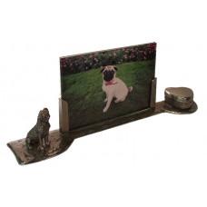 Mops hondje gepatineerd glanzend tin