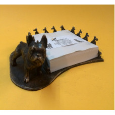 Notitieblokhouder franse bulldog reu verbronsd
