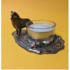 Collie rough small candleholder