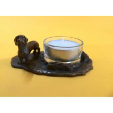 Teckel ruwhaar waxinehouder verbronsd