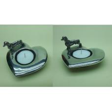 Waxinehouder hart met korthaar teckel