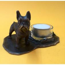 French bulldog male bronzed candleholder