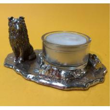 Sheltie zittend waxinehouder zilvertin